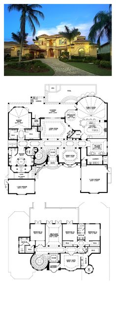 Florida Style COOL House Plan ID: chp-53040   Total Living Area: 6045 sq. ft., 5 bedrooms  5 bathrooms. #houseplan #floridastyle