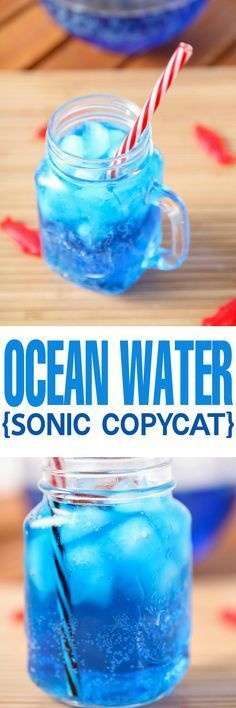 Copycat Sonic Ocean Water Recipe: The most gorgeous and refreshing summer drink around! The perfect non alcoholic drink for picnics or the Fourth of July. #waterrecipes