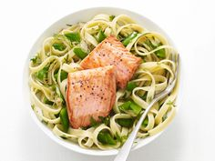 Fettuccine with Salmon and Snap Peas Recipe : Food Network Kitchen : Food Network - FoodNetwork.com