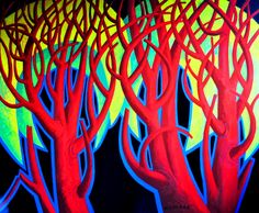NAMIBIAN THORN TREES, enamel on board, 2012/13 by Nicolaas Maritz.Available from the Maritz Studio Gallery, Darling, SOuth Africa. Enquiries: maritzstudio@telkomsa.net South African Art, Enamel, Trees, Neon Signs, Paintings, Artists, Studio, Live, Gallery