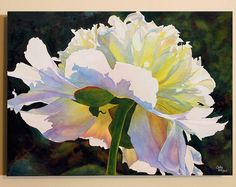 White Peony Art Watercolor Painting Canvas Print by Cathy Hillegas, 18x24, watercolor peony, watercolor print, pink blue green yellow white