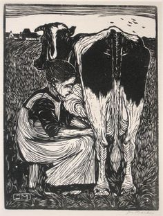 "Jan Mankes (1889-1920) - ""Milking the Cow"". Woodcut. 1914.   http://hundred-million-light-years.blogspot.co.uk/2009/09/jmankes.html  Tags: Linocut, Cut, Print, Linoleum, Lino, Carving, Block, Woodcut, Helen Elstone, Woman, Seated, Cow, Milking, Dutch."