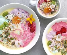 Colorful Unicorn Protein Smoothie Bowls