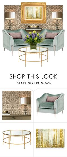 """""""Floral Wallpaper Challenge: Gold"""" by creation-gallery ❤ liked on Polyvore featuring interior, interiors, interior design, home, home decor, interior decorating, Graham & Brown and Oliver Gal Artist Co."""