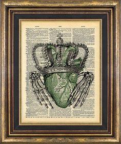 CLADDAGH Irish Skeleton Hands St Pattys St Patricks Day Vintage Book Page print on Etsy, $9.00
