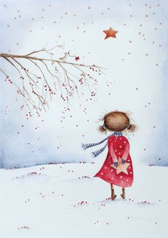 Christmas girl The post Christmas girl appeared first on Woman Casual - Drawing Ideas Watercolor Christmas Cards, Christmas Drawing, Christmas Paintings, Watercolor Cards, Christmas Art, Watercolor Paintings, Christmas Pictures To Draw, Art And Illustration, Christmas Illustration