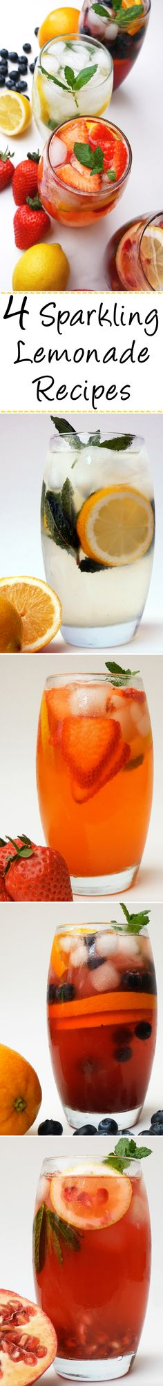 Classic Lemonade - Strawberry Lemonade - Blueberry Orange Lemonade - Pomegranate Lemonade | Learn how to make all of these delicious drinks that will be great for a warm summer day!