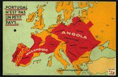 """""""Portugal n'est pas un petit pays"""" : carte postale éditée par le secrétariat de la propagande nationale du Portugal sous Salazar ; oblitérée en 1939."""