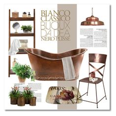 """""""copper bathroom"""" by limass ❤ liked on Polyvore featuring interior, interiors, interior design, home, home decor, interior decorating, Home Decorators Collection, Pigeon & Poodle, McGinn and Peacock Alley"""