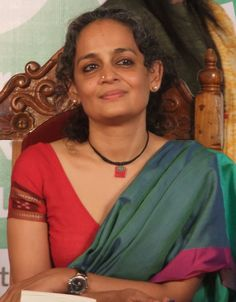 Suzanna Arundhati Roy is an Indian author and political activist who is best known for the 1998 Man Booker Prize for Fiction winning novel The God of Small Things and for her involvement in environmental and human rights causes. Run Like A Girl, Girls Be Like, Black Thread, Celebs, Celebrities, Human Rights, Indian Wear, Indian Outfits, Indian Fashion