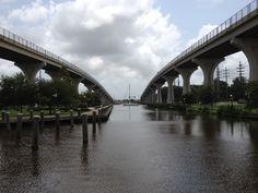 Downtown Marina - intracoastal canal under the bridge - Houma, Louisiana