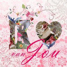 Wenskaart KendieKaart by MOK STUDIO kollektie LFD Ik hou van Jou vierkant Greeting card Candy Card by MOK STUDIO collection LFD Valentine's Day