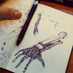 Pen sketches of a robotic arm, by Takbeom Heogh on Behance Pen Sketch, Drawing Sketches, Art Drawings, Tattoos Bras, Robot Hand, Arte Cyberpunk, Arte Robot, Industrial Design Sketch, Robot Concept Art