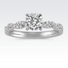Diamond Infinity Engagement Ring with Pavé-Setting with Cushion Cut Diamond
