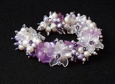"""Award Winning   'Amethyst Garden' Bracelet of Vintage Lucite Flowers, Freshwater Pearls and Czech Seed Beads by K for """"Trifles & Whimsy"""" on Etsy"""