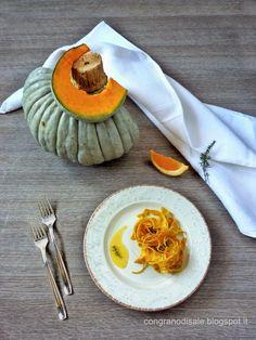 Tagliatelle di zucca con olio al timo e crema all'arancia - CONGRANODISALE