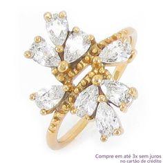 Anel com Pedras de Zircônia Folheado a Ouro Rosé