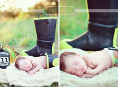 Fire fighter boots with Baby!