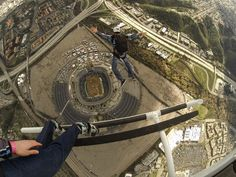 The GoPro Bomb Squad take a practice jump into Qualcomm Stadium in San Diego before last Saturday's Supercross madness!
