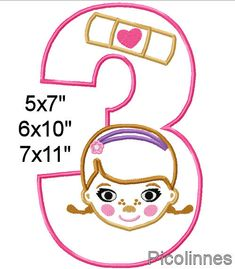 MACHINE DIGITAL EMBROIDERY APPLIQUE DESIGN - PATTERN  **DOC** MC*STUFFlNS** 3rd BIRTHDAY (Number 3, Head and band aid)  Formats: NEW, PEC, XXX, DST, EXP, HUS, JEF, PES, SHV, VIP, VP3, CSD  3 SIZES HOOP SIZES: 5x7 - (5.12x7.09) stitch count: 11709 6x10 - (6.30x10.24) stitch count: 16532 7x11 - (7.09x11.81)stitch count: 18659 Actual sizes might vary a little by different formats.  INSTANT DOWNLOAD Color Chart and Sewing Order included You can change the color of the number for any other…