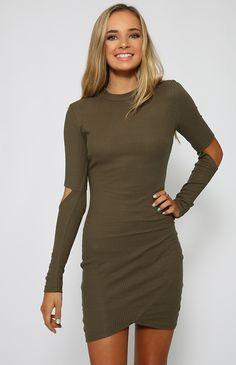 Sukienka khaki Army z wycięciami mini asymetryczna