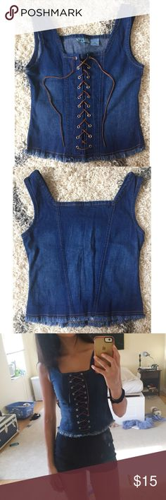Denim Lace up criss cross tank top 🍁🍂 Adorable fitted soft denim top. Super trendy, and very 90s! Festival style. Leather laceup, never worn. (Tagged FP for style preference) Free People Tops Tank Tops