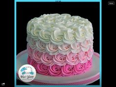 Buttercream Rosette Ombre Cake(Chocolate Glaze That Hardens) Pretty Cakes, Cute Cakes, Beautiful Cakes, Amazing Cakes, Sweet Cakes, Rose Cake, Buttercream Cake, Buttercream Ideas, Whipped Frosting