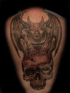 gargoyle tattoo patterns   Gargoyle Tattoo On Back Back Tattoo, I Tattoo, Tattoos For Guys, Cool Tattoos, Fallen Angel Tattoo, Gargoyle Tattoo, Tattoo Patterns, Dark Ink, Tatoos