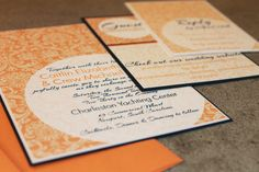 vintage tangerine wedding invites, affordable wedding invites, orange wedding invites, navy + orange wedding invitations from Party Box Design