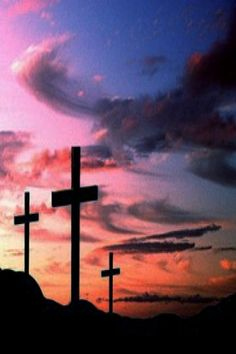 "A beautiful photo named ""Three Crosses at Sunset,"" these crosses represent the three monks who were slaughtered by the indians, hence the name Las Cruces or City of the Crosses. These are located on N. Main in Las Cruces, New Mexico. (Photographer unknown)"