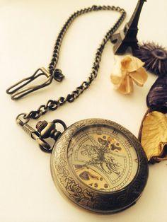 Steampunk Mechanical Pocket Watch-antique bronze 000003 on Etsy, $39.98