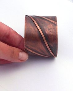 Diamond Copper Cuff, Fold Formed Copper Bracelet