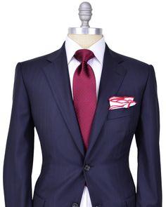 Belvest | Navy Tonal Stripe Suit | Apparel | Men's