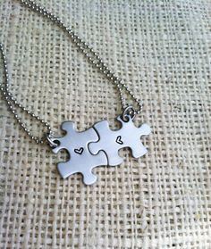 Mini puzzle piece necklaces hand stamped best by CMKreations, $26.00