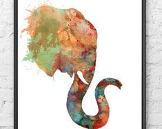 Imprimir Arte acuarela animales arte elefante por Thenobleowl