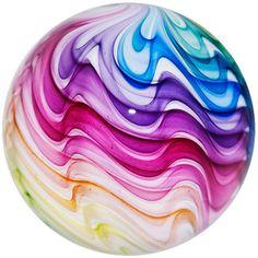 "Mark Matthews 3 1/8"" Brilliant Primary Color Rainbow Swirl Art Glass Marble"