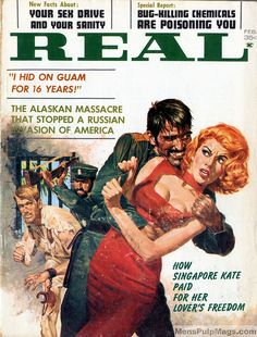 Ann-Margret vs. Snidely Whiplash? Naw. But it is a great George Gross painting on the cover of REAL, February 1963. (Reposted from the Men's Adventure Magazines Facebook group, online here - https://www.facebook.com/groups/187984097012/