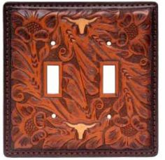Tooled Leather Double Switchplate Cover