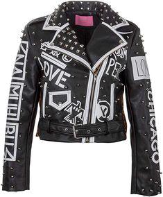GloryA Womens Coat Lapel Zipper Bomber Retro Faux Leather Jacket