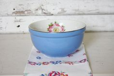 Blue Hall Mixing Bowl rare large flower by TheFarmhousePorch, $22.00