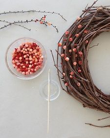 Making pom pom berries- would like to make the branch version for a fall table decoration!