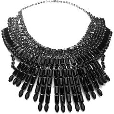 Tom Binns Massai Statement Necklace (12.370 RON) ❤ liked on Polyvore featuring jewelry, necklaces, accessories, black, multi row necklace, black statement necklace, layered chain necklace, swarovski crystal jewelry and kohl jewelry
