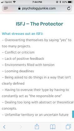 ISFJ personality stressors