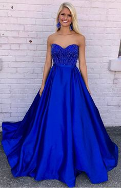 Prom dresses Sweetheart Royal Blue Prom Dress with Beading,A Line Strapless Prom  Dress,Long Evening Dresses,royal blue Prom Dress
