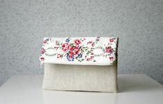 Retro Roses Foldover Clutch Purse Floral Romantic by HelloVioleta