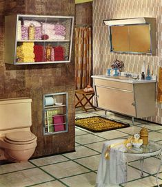 mid-century bathroom inspiration.  I love that wallpaper, great color scheme.