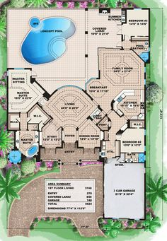 skinny but deep Cascading Roof Lines - 66161WE | Florida, Mediterranean, Luxury, Photo Gallery, Premium Collection, 1st Floor Master Suite, Butler Walk-in Pantry, CAD Available, Den-Office-Library-Study, MBR Sitting Area, PDF, Split Bedrooms, Corner Lot | Architectural Designs