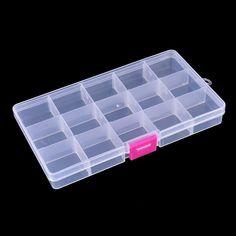 17.4*3.9*2.2 Cm 15 Compartments Bait Hooks Tackle Waterproof Storage Box Case
