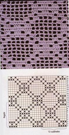 Granny Square Crochet Pattern, Crochet Blocks, Crochet Diagram, Crochet Stitches Patterns, Knitting Stitches, Baby Knitting Patterns, Crochet Carpet, Knit Or Crochet, Crochet Motif