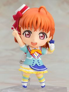 """""""We want to shine!""""From the popular anime series Love Live! Sunshine!! comes a Nendoroid of the second year student at Uranohoshi Girls who started the Aqours idol group, Chika Takami! She has been sculpted in her outfit from the song """"Aozora Jumping Heart""""! She comes with both an energetic smiling expression as well as a winking expression, and a variety of different parts all... #tokyootakumode #figure #Love_Live_Series"""
